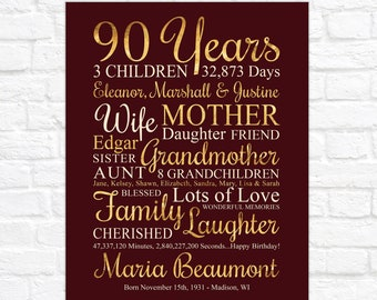 Womens 90th Birthday Gift, Personalized Sign for 90 Year Old Woman, Turning 90, Grandmas Birthday, Great Grandmother Birthday Gifts