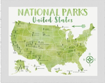 National Park Poster, All United States National Parks on Green Map, Adventure Travel, Yosemite, Yellowstone, Kids Art, Forest Room USA 2021