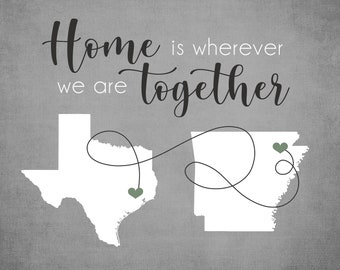 Going Away Gift, Moving Away State to State, Long Distance Gift, Friends Moving, New Homeowner Gifts, First Home Maps, Home Together Sign