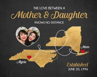 Long Distance Mom and Daughter Gift, Personalized Mothers Day Gift for Long Distance Mother, The Love Between a Mother and Daughter Photo