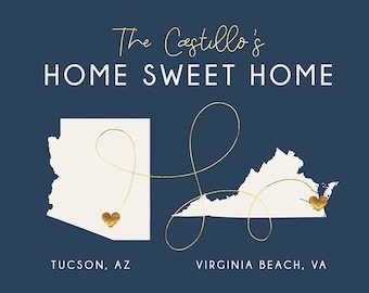 Home Sweet Home Sign, Personalized Housewarming Gifts, Personalized Home Map, First Home Gift for Couple, House Map, New Home, 2 Homes