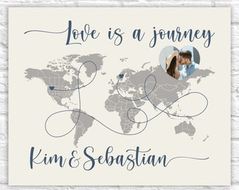 World Map Gift, Personalized Map with Text, Customized Anniversary Gift for Couple, Love is a Journey World Map for Push Pins, Travels