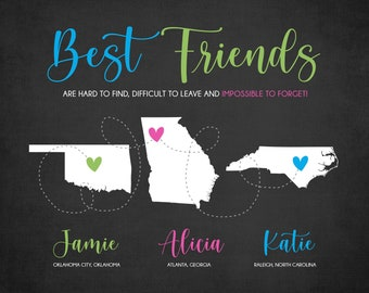 Personalized Long Distance Friendship Maps for 3 Friends, Moving Gift for Friends, Best Friend Going Away Gift, Colorful Best Friendships