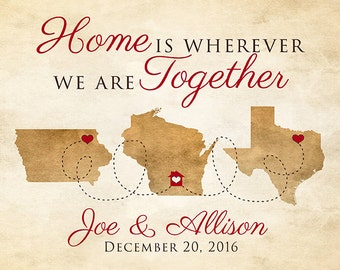 Family Gifts, Home is Wherever We are Together, First Christmas, Housewarming, New Home Gifts, Address Art, Rustic Map, Love Words | WF279