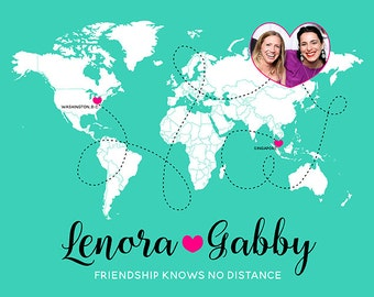 Long Distance Best Friends, Birthday Gift for BFF -  World Map, Friends Forever, Distance means so little - Quote, Daughters Friend | WF389