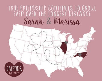 Long Distance Friend, Personalized Map Gift, Birthday Gift for Best Friend, Move Away Gifts, Mauve, Wine, Gray, True Friendship | WF386