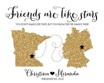 Friends are like Stars, Custom Glitter Maps Long Distance Friendship Maps, Military Friend, Germany, Moving, Going Away, Gold | WF180
