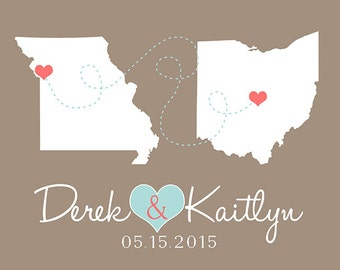 Engagement Gift, Custom Wedding Gift, Home Decor Art Print, Two States, Long Distance, Connecting Hearts, Names, Weddings, Anniversary WF302
