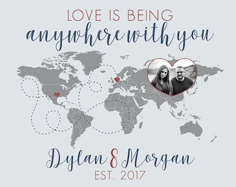 Wedding World Map Poster, Wedding Gift for Couple, Honeymoon Travel Long Distance Quote, Anywhere With You, Photo Map, Our Travels | WF562