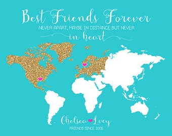 World Map for Long Distance Friendship, Personalized Gift Idea, Glitter, Turquoise, Summer Wedding Gift for Best Friend, Birthdays | WF118