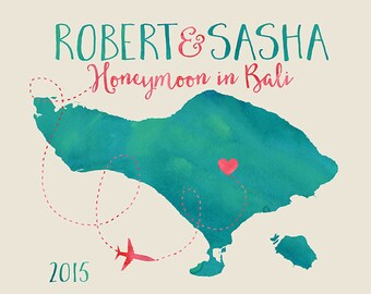 Bali Indonesia, Island Map - Custom Honeymoon, Wedding Travel Map, Australia, Asia, Elopement, Personalized Gift, Wedding Anniversary