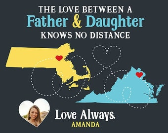 Colorful Art for Dad with Photo of Daughter, Personalized Long Distance Map Art for Father and Child Living Apart, Moving Gift, Fathers Day