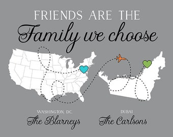 Moving Gift for Friends who are like Family, Custom Long Distance Friendship, Going Away Quote Maps, Moving State, Country, Continent Sign