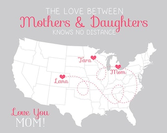 Gift for Mom from Daughters, Long Distance Map for Mother, Step Mom, Moving Away Gift for Mom, Mothers Day Gift, Heart on Locations of Map