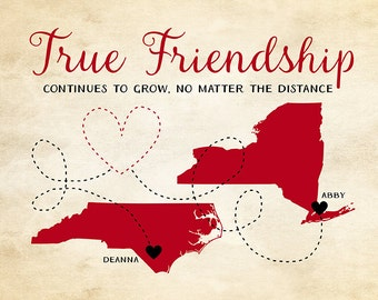 Friendship Quote, Gift for Best Friend Map Art, Customized Long Distance Friends, Rustic Chic, True Friendship Quote Black and Red | WF365
