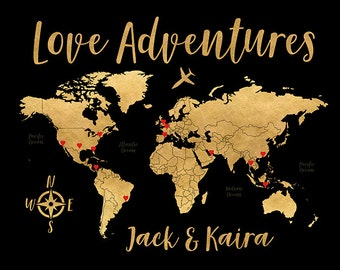 Black and Gold Map, Wedding Gift, Love Adventures Travel Map of the World, Personalized Wedding Gift, Compass, Rich Gold Calligraphy | WF551