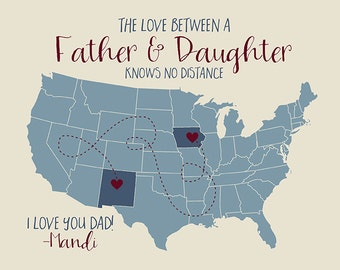 Long Distance Father Daughter Map, Gift for Dad from Kids, Children, Son, Daughters, Dad Quote, Dad Gifts, Fathers Day, Slate Blue | WF187