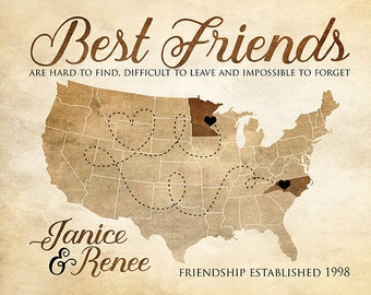 Best Friends Gift, Birthday, Moving, Long Distance - Customized Map for Friendship, Long Term, Girlfriends, Bridesmaid, Rustic, Tan | WF420