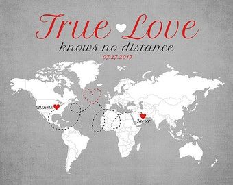 Long Distance Relationship, Living Far Apart, Romantic Gift for Boyfriend, Husband, Spouse, Girlfriend - Distance Deployment, Gray | WF50