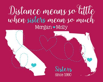 Gifts for Sister, Sister in Law, Step Sister, Birthday Gift Ideas, Pink, Blue, Bright, Sister Quotes, New Address Out of State | WF464