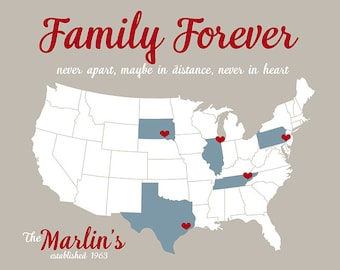 Family Forever USA Map, Mom and Dad, Grandparents, Sisters, Brothers - Custom Map with your locations, Christmas Gift Family, Aunt, Uncle