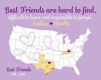 Long Distance Best Friends, Moving Away Farewell, Out of State, Childhood Friend, Going Away Gifts, Lavender, Gold, Bridesmaids | WF328