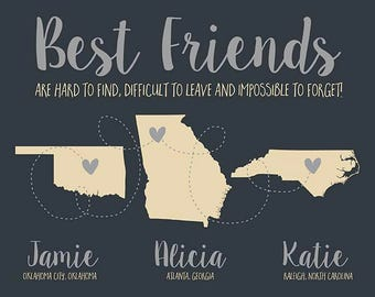 Best Friends Long Distance Maps, Personalized Gifts, Neutral Colors, Wedding Gift for Bridesmaids, Maid of Honor, Sister, Moving | WF485