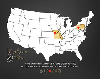 Personalized Map for BFF, Friends Forever Gifts, Custom US Map, Gold, Black, White, Red Hearts, Girlfriend, Long Distance   WF170
