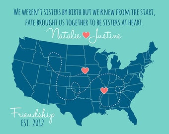 Best Friends Map, Long Distance Personalized Map Poster Birthday Gift for BFF, Sister, Quote, Friends Forever and Always | WF133