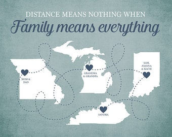 Family Means Everything Quote, Long Distance Family Members, Gift for Grandma, Grandparents, Parents, Mom and Dad, Brothers, Sisters | WF33