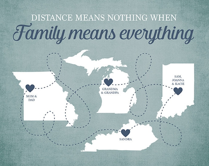 Featured listing image: Family Means Everything Quote, Long Distance Family Members, Gift for Grandma, Grandparents, Parents, Mom and Dad, Brothers, Sisters | WF33