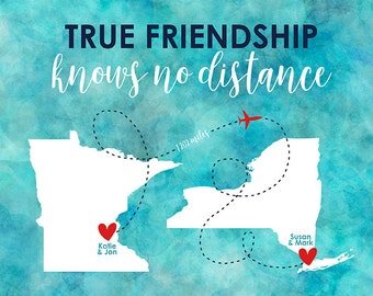 True Friendship Knows No Distance, Aqua Watercolor Blue Map Art, Long Distance Friends Moving Away New Home, Housewarming Gift | WF542