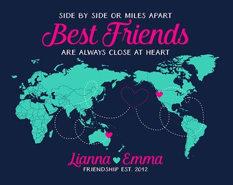 World Map Opposite Style, Other Side of the Globe, Gift For Best Friends, Pen Pals, Foreign Exchange, Au Pair, Australia, USA, Asia | WF289