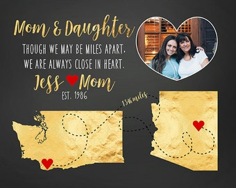 Special Mom and Daughter Gift, Long Distance Mother, Family, Miles Apart, Personalized Christmas Gifts, Gold Foil Style, Red Hearts | WF414