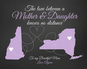 Mother and Daughter Long Distance Map Gift, Personalized Art, Choose Maps, Colors, Lavender, Chalkboard Style, Christmas Gift Mom | WF231