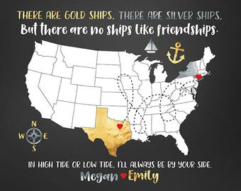Best Friend Gift, Long Distance Friendship, Anchor, Nautical, Moving Away Gift, Gold and Silver Gift, Texas to New York, USA Map | WF238