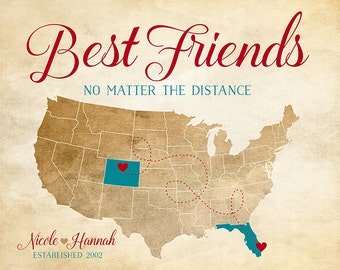 Rustic Map for Friend, Personalized Birthday Gifts, New Home, Moving to Florida, Colorado, Any Two States - Turquoise Sign | WF278