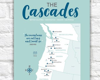 Cascades Map, Mountain Range, British Columbia, Washington, Oregon, Northern California Maps, Volcanoes, Informative Art, PNW Gifts | WF602