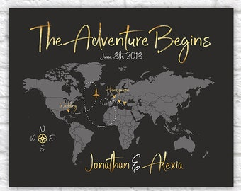 The Adventure Begins Poster, World Map Wedding Gift, Wedding and Honeymoon Destinations Map Art, Wedding Guestbook, Gold Wedding | WF458