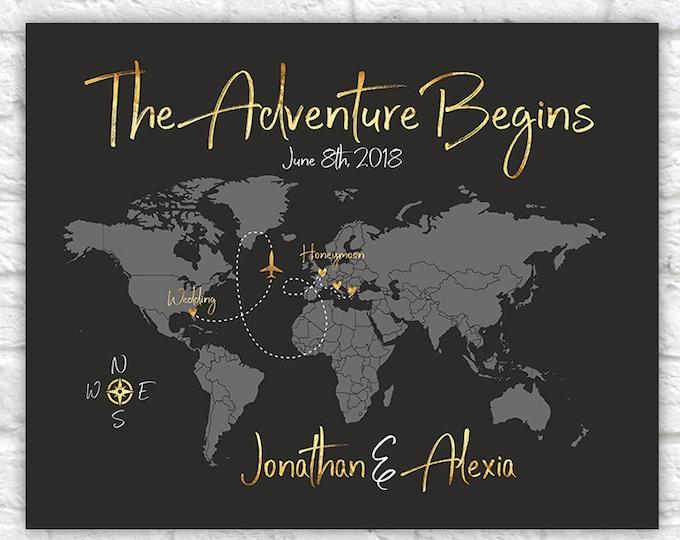 Featured listing image: The Adventure Begins Poster, World Map Wedding Gift, Wedding and Honeymoon Destinations Map Art, Wedding Guestbook, Gold Wedding | WF458