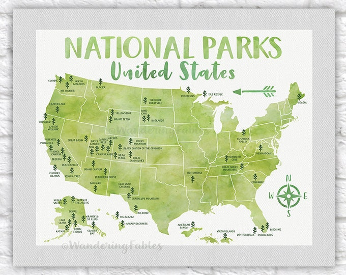 Featured listing image: National Park Poster, All United States National Parks on Green Map, Adventure Travel, Yosemite, Yellowstone, Kids Art, Forest Room | WF623