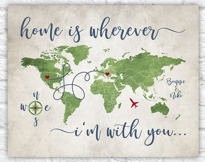 Featured listing image: Home is Wherever Im With You, Custom Map, Long Distance Relationship Gift -  Personalized Map for Couple, Lovers, Quote, Rustic | WF313