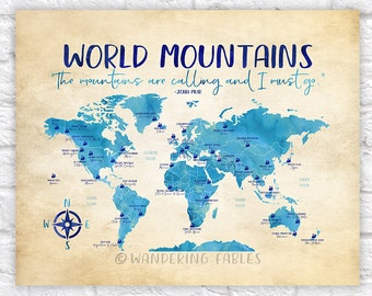World Mountains Map, Famous Mountains of the World - Take me to the Mountains, The Mountains Are Calling, Educational, Kids Room | WF535