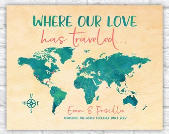 Where our Love has Traveled, Personalized World Map of Travels, Teal and Coral, Push Pin map, 10th, 10 Year Anniversary Travel | WF191