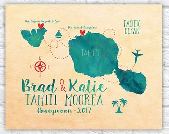 Tahiti and Moorea Map, Personalized Destination Wedding, Honeymoon, Anniversary Art, French Polynesia Map, Tahiti Islands Map | WF60