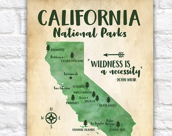 California National Parks Map, Adventure Travel, Mountains, Forest Green, Kids Bedroom, Classroom, Educational Poster, Redwood | WF617