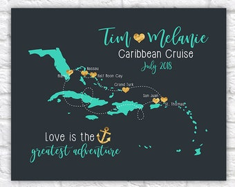 Caribbean Cruise Map, Eastern Caribbean Trip, Honeymoon or Custom Anniversary Gift, Cruise Vacation, Personalized Wedding Gift, Maps | WF399