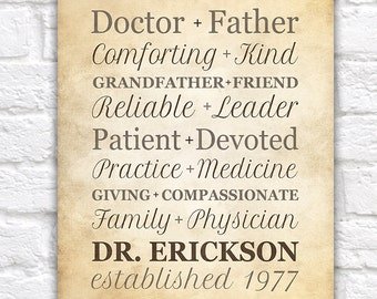 Gift for Doctor, Unique Personalized Typography Gift for Dr, Physician, Chiropractor, Medicine, Retirement Gift, Nurse, Surgeon | WF35