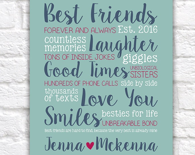 Featured listing image: Best Friend Gift, Custom Gift for Home Decor, Names, Personalized, Birthday Gift, Friends, Funny, Sister, BFF, Unique Gift, Bold   WF418
