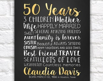 50 Years 50th Gift Golden Year Old Turning Birthday Gifts For Mom Sister Best Friend Aunt Mother